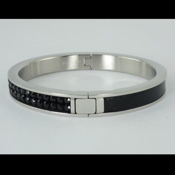 d2587639c Swarovski Jewelry | Black Crystal Bangle | Poshmark